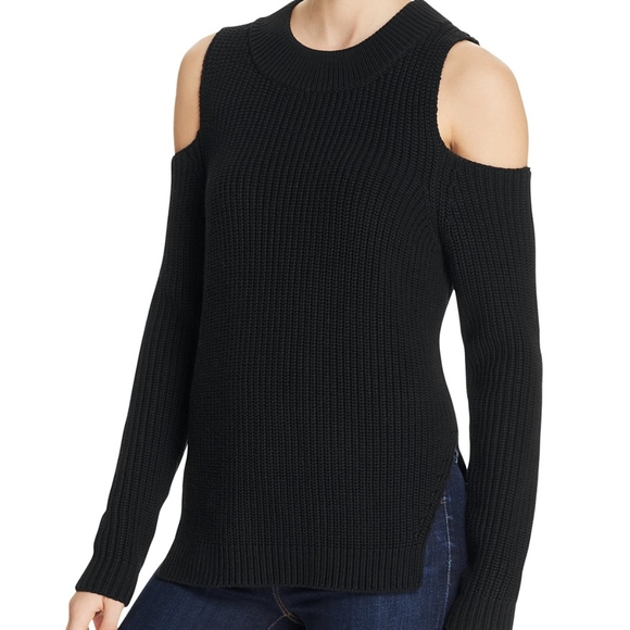 French Connection Sweaters - Cold Shoulder Black Knit Sweater